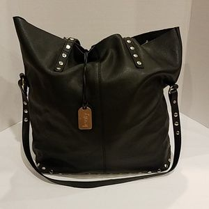 Levity black and gold studded tote